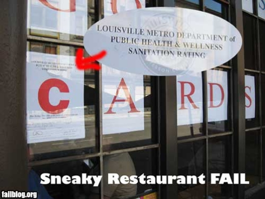 Sneaky restaurant tries to hide health code rating
